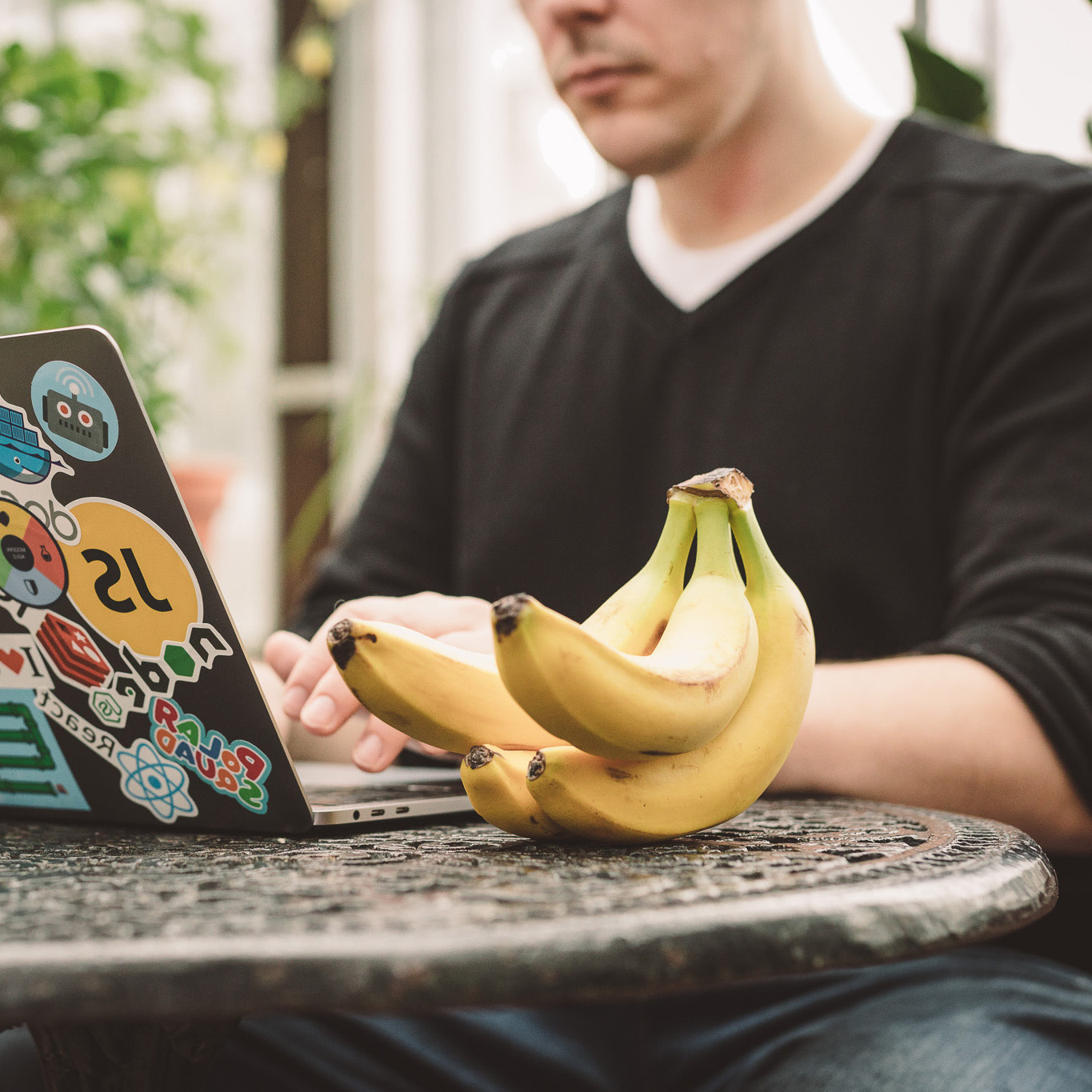 a banana and a person in the backgroud